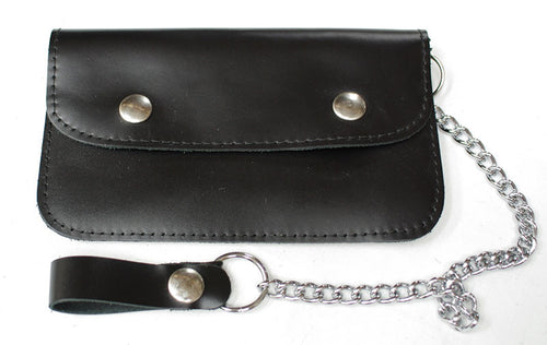 Mens leather biker style wallet, with chain.