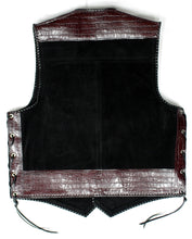 Black heavy weight suede laced vest, faux maroon croc trim, whip-stitched, no seam front.
