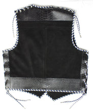 Black heavy weight suede laced shoulders vest, faux snake trim, whip-stitched, no seam front.