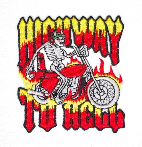 Highway to Hell.  70mm wide x 80mm high, embroided patch #P-073