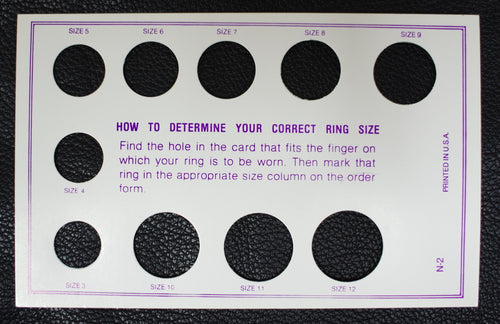 Ring sizing card in numerals