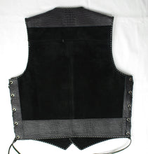 Black heavy weight suede laced vest, faux black croc trim, black whip-stitched, no seam front.