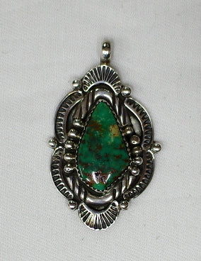 American Indian Pendant, Navajo 925 Sterling Silver and Turquoise