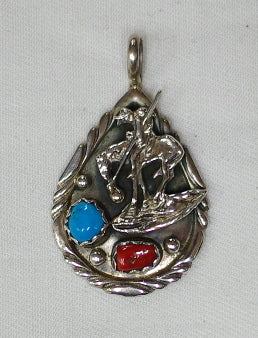 American Indian Weary Warrior Pendant, Navajo 925 Sterling Silver and Turquoise