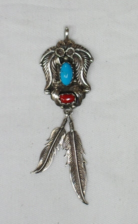 American Indian Pendant, Navajo 925 Sterling Silver and Turquoise & Red Coral