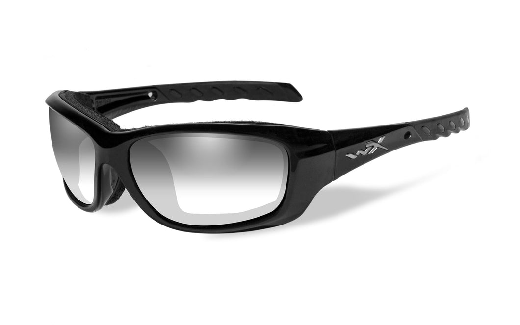 Wiley X. Gravity - LA Grey, Light Adjusting Lens Gloss Black Frame.
