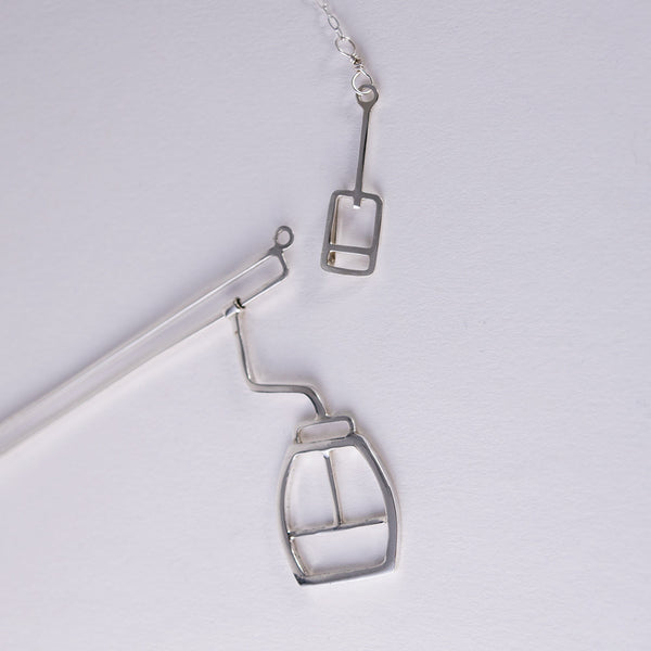 Ski Gondola Necklace with a lift ticket shaped clasp