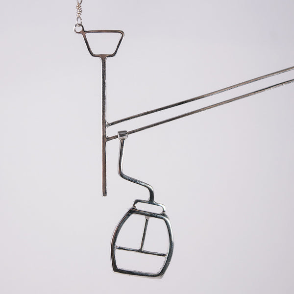 Detail of ski gondola necklace