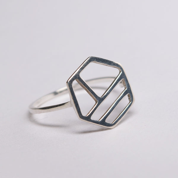 Silver ring in the shape of a hexagon with three lines as the pattern in the center