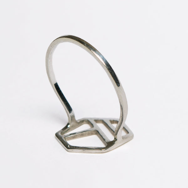 Hexagonal Ring with Three Lines, minimalist geometric jewelry by Tinker Company. Comfortable everyday designs for minimalists.