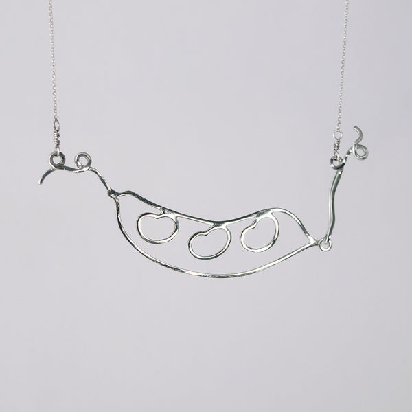 Bean Pod Necklace in sterling silver with three beans