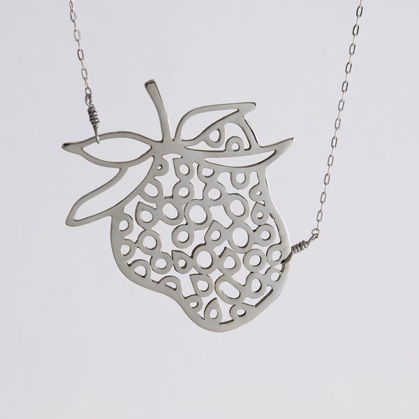 Strawberry Necklace in Sterling Silver, a whimsical pendant from Crave, a collection of fun and playful jewelry by Tinker Company.