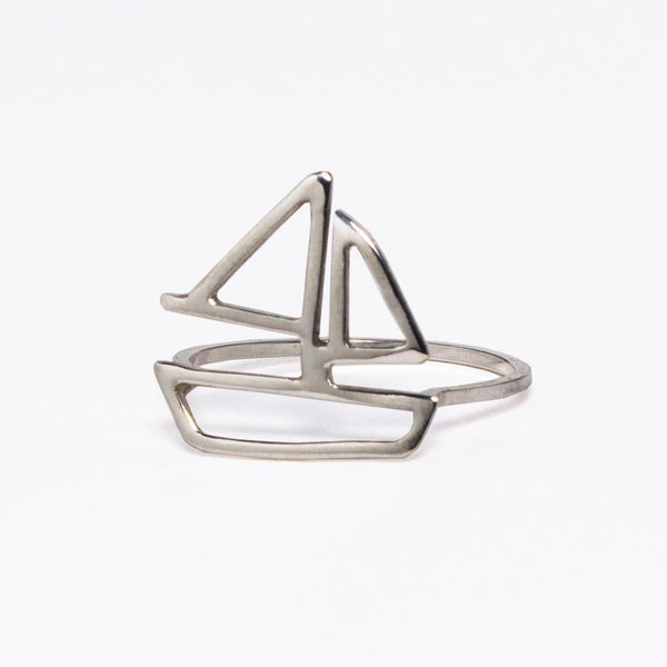 Sterling silver sailboat ring from a collection of nautical jewelry designs to feed your sailing wanderlust and capture your favorite summer travel memories by Tinker Company.