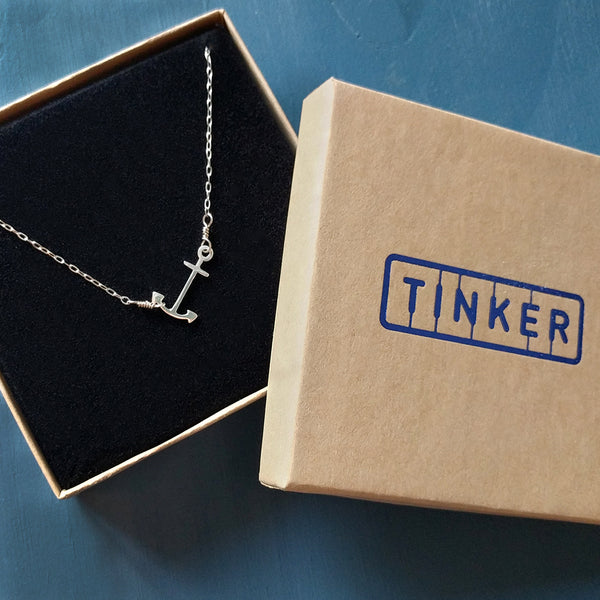 Silver Anchor Pendant in a Tinker Company gift box, centered option shown.