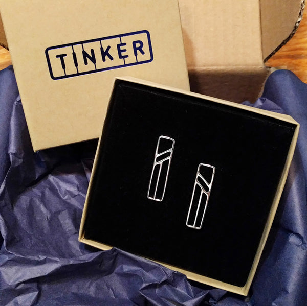 Silver Flying Buttress Earrings, Abstract Architectural Jewelry in a Tinker Company gift box.