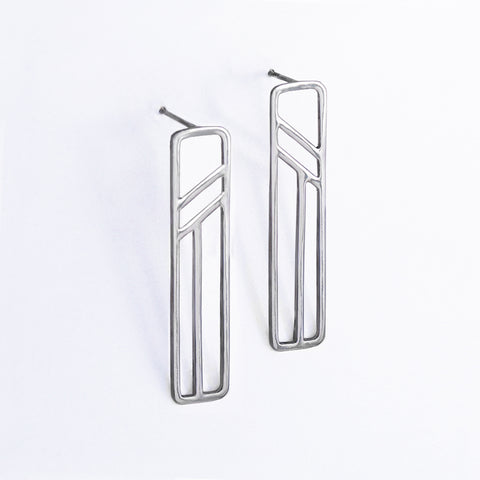 Silver Flying Buttress Earrings, Abstract Architectural Jewelry by Tinker Company. Sustainably made in New York City.
