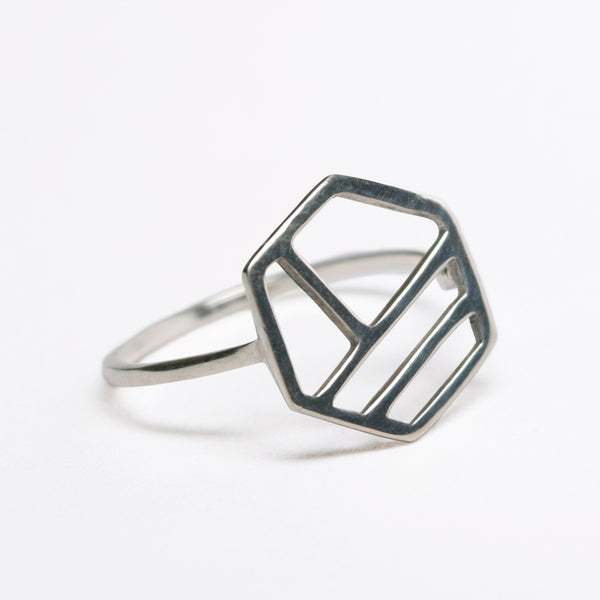 Silver Hexagonal Ring with Three Lines, Minimalist Geometric Jewelry with Stripes. Comfortable design great for everyday wear.