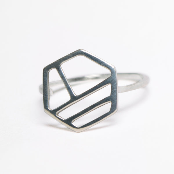 Silver Hexagon Ring with Three Lines, Minimalist Geometric Jewelry with Stripes by Tinker Company