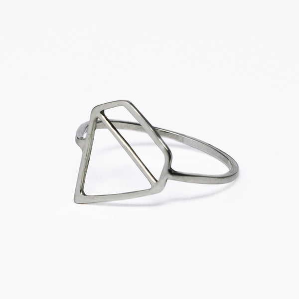 Ice Diamond Ring - sterling silver ring with a flat outline of a faceted stone. Designed by Tinker Company. Made in NYC.