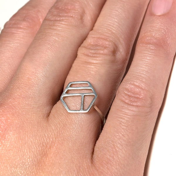 Silver Hexagon Ring with Three Lines shown on a model. Minimalist geometric jewelry with stripes by Tinker Company.