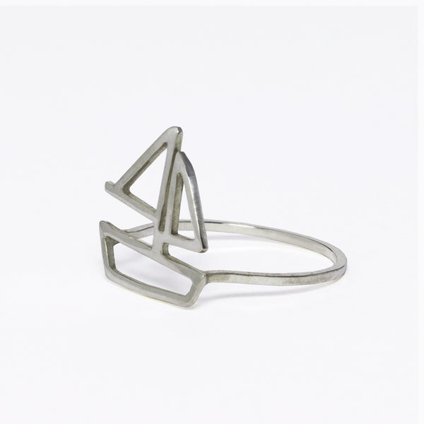 Silver sailboat ring from Tinker Company's collection of fun and playful nautical jewelry designs to celebrate your summer wanderlust and favorite vacation memories.