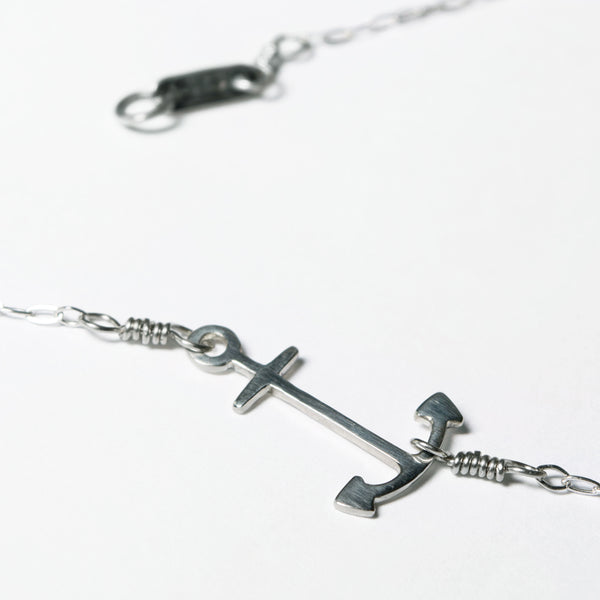 Tinker's Anchor Pendant, showing part of the clasp. Sustainably made of solid sterling silver in New York City.