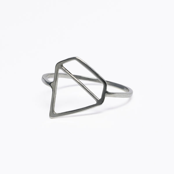 Ice Diamond Ring - A fun and playful sterling silver ring with a stylized outline of a faceted stone. Designed by Tinker Company. Made in NYC.