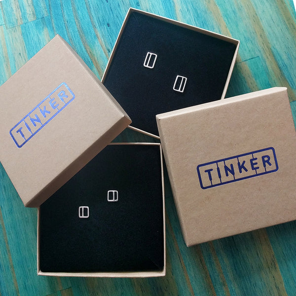 Modern and Minimal Silver Earrings in Tinker Company Boxes