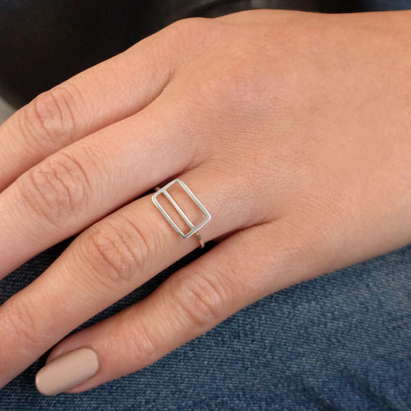 Metrocard Ring in sterling silver, as shown on a model's hand.