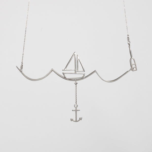 Sailing Necklace with Moving Sailboat