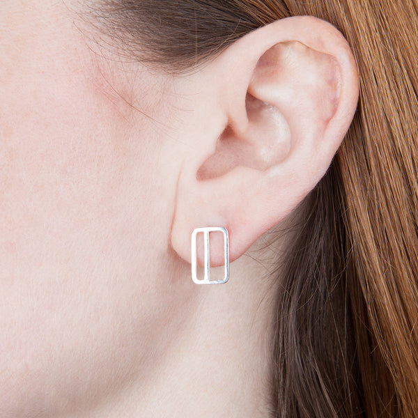 Vertical Rectangle with Stripe Earring Shown on Model's Ear