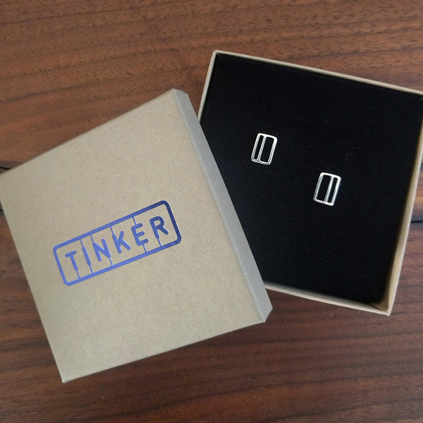 Vertical Transit Ticket Card Earrings in a Tinker Company Box. Made in NYC.
