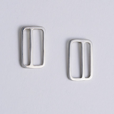 Vertical Metrocard Earrings in Sterling Silver