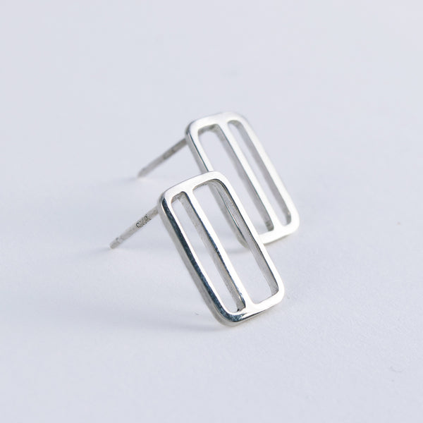 Side View of Vertical Transit Ticket Card Earrings by Tinker