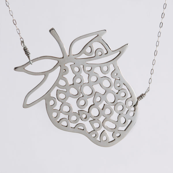 Strawberry Necklace in Sterling Silver, a fun and playful pendant from the Crave Collection by Tinker Company.