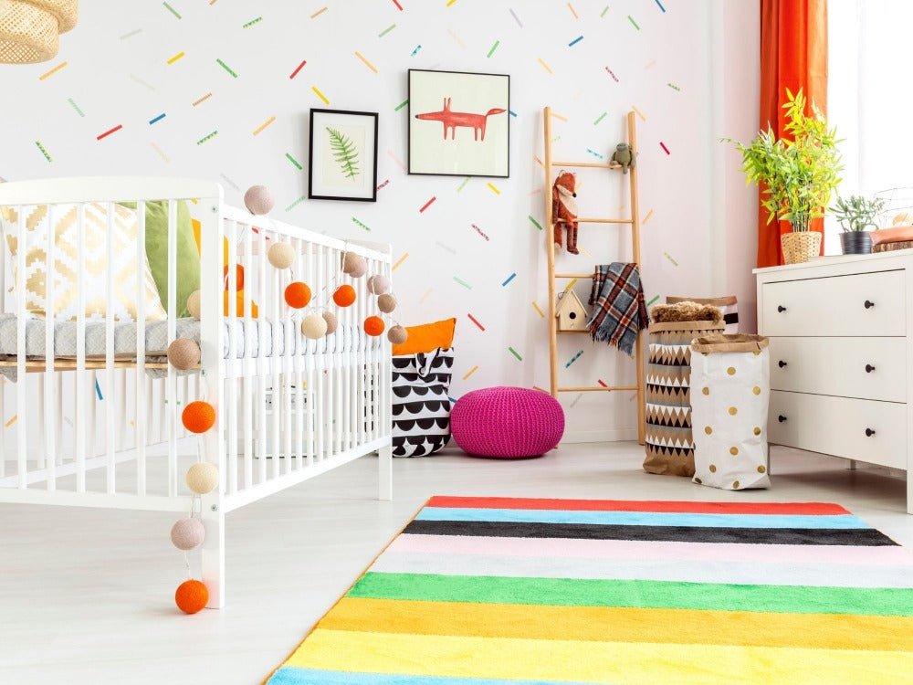 Baby's Nursery with Colorful Accent Pieces