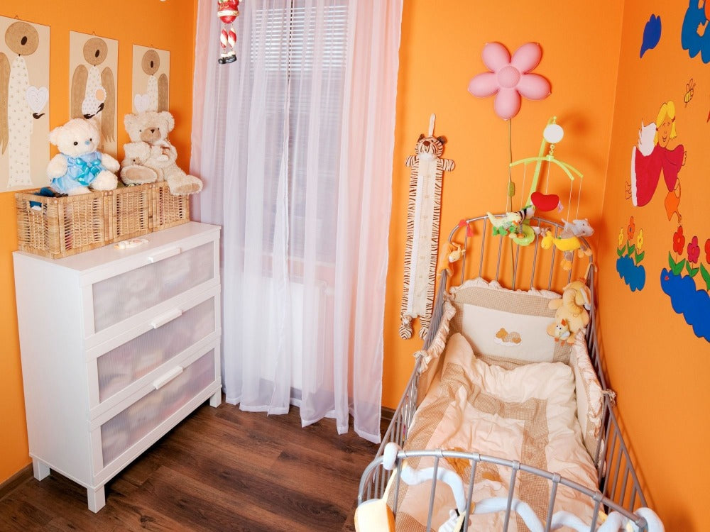 Baby's Nursery with Bright Walls