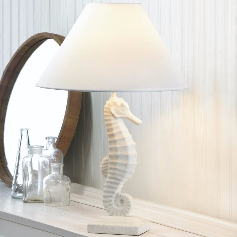White Seahorse Table Lamp; Seahorse Table Lamp
