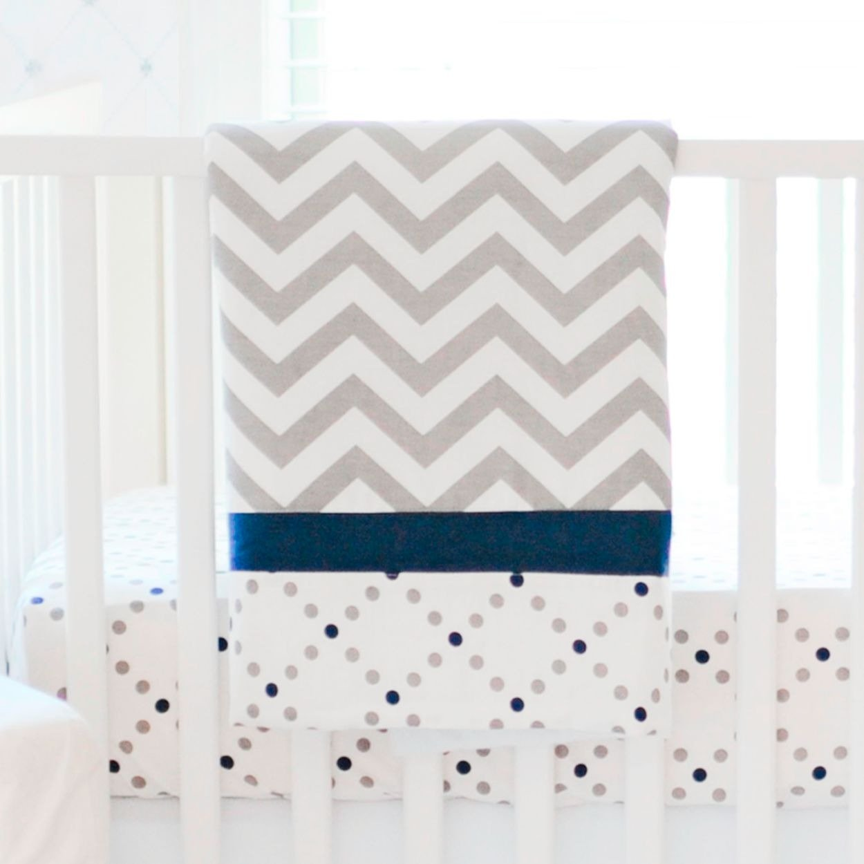 Navy & Grey Chevron Blanket