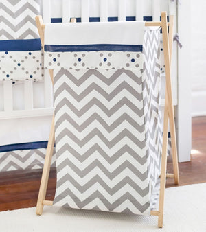 Grey and Navy Chevron Nursery Hamper