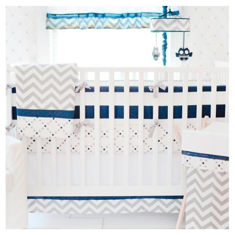 Grey and Navy Crib Sheet Set