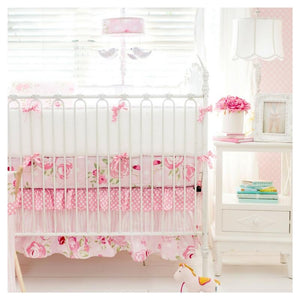 Pink Floral Crib Sheet Set
