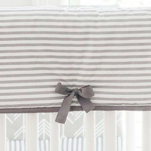 Gray Stripe Crib Rail Cover