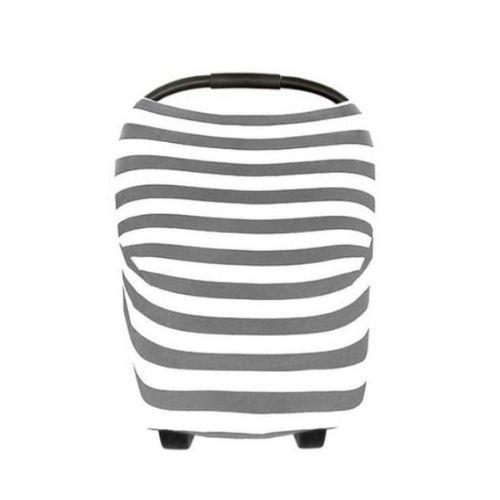 Gray Striped Nursing & Car Seat Cover