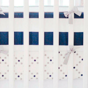Navy & Grey Crib Bumper and Sheet