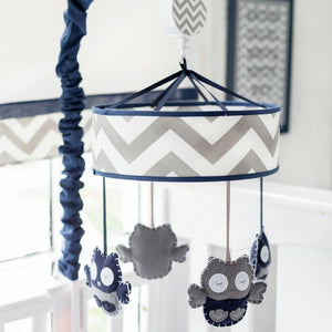 Navy and Grey Owls Nursery Mobile