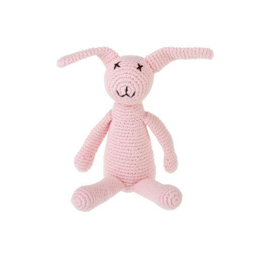 Pink Knit Bunny Rattle