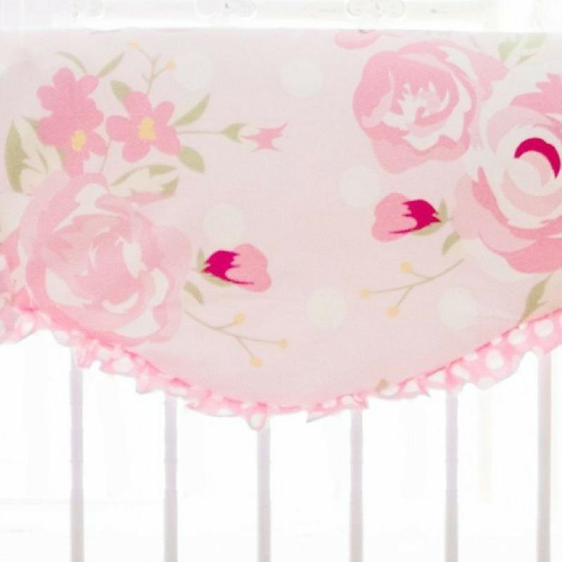 Floral Pink Crib Rail Cover