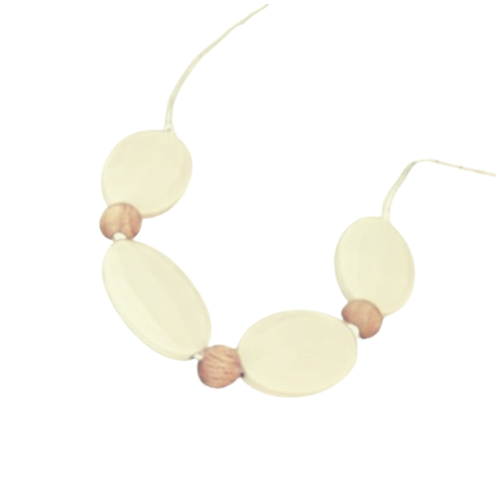 Flat Oval Teething Necklace  - Natural