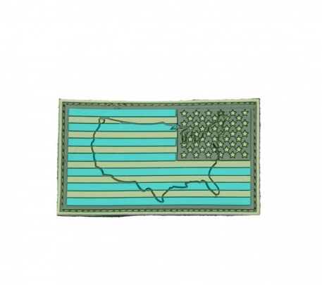 US Flag - Green - Reverse (Raised)
